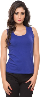 Softwear Casual Sleeveless Solid Women's Blue Top