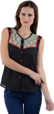 Kiosha Women's Solid Casual Black Shirt