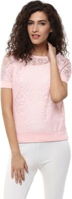 BLUE ISLE Casual Short Sleeve Self Design Women's Pink Top