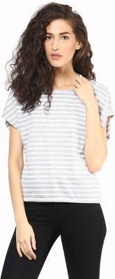 T-shirt Company Casual Cape Sleeve Striped Women's Grey, White Top