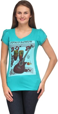 A A Store Casual Short Sleeve Solid, Printed Women's Blue Top