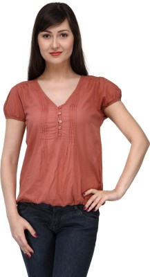 India Inc Casual Short Sleeve Solid Women's Brown Top