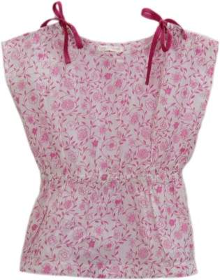 My Little Lambs Casual Sleeveless Printed Girl's Pink Top