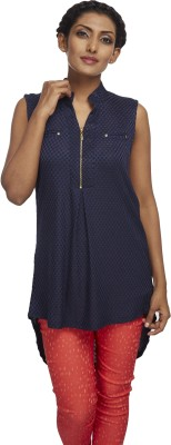 Milano Homme Casual Sleeveless Printed Women's Dark Blue Top