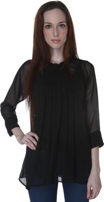 Rigoglioso Formal Full Sleeve Solid Women's Black Top