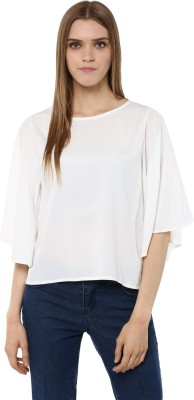 Harpa Casual Petal sleeve Solid Women's White Top