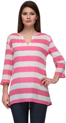 Gloria Casual 3/4 Sleeve Striped Women's White, Pink Top