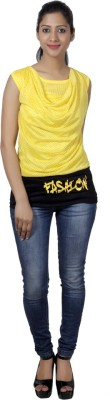 Western World Casual Sleeveless Self Design Women's Yellow Top