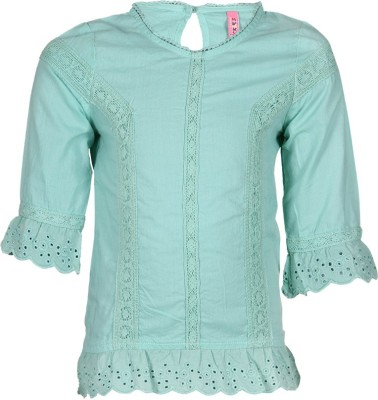 Tickles By Inmark Casual 3/4 Sleeve Self Design Girl's Green Top