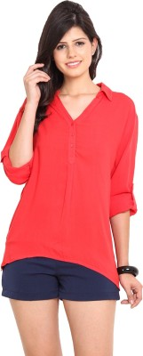 Nvl Casual Roll-up Sleeve Solid Women's Pink Top