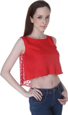 Rigoglioso Casual Sleeveless Solid Women's Red Top