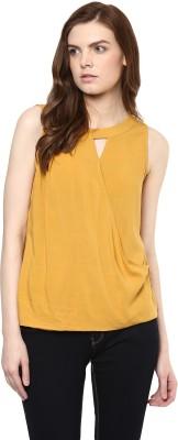 Avirate Casual Sleeveless Solid Women's Yellow Top