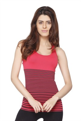 Channel Nine Casual Sleeveless Solid Women's Pink Top