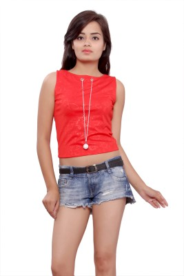 Maya Apparels Party Sleeveless Self Design Women's Red Top
