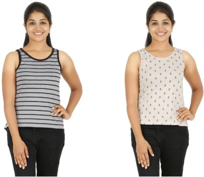 HALF INCH Casual Sleeveless Striped, Printed Women's Grey, Brown Top