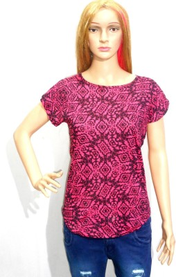 umesh fashion Casual Short Sleeve Printed Women's Pink Top