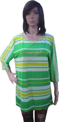 AARADHYA BOUTIQUE Casual 3/4 Sleeve Printed Women,s Light Green Top