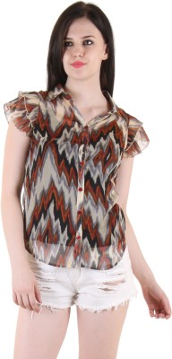 SS Casual Cape Sleeve Printed Women's Multicolor Top