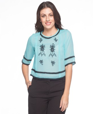 Sixes And Sevens Nyc Casual 3/4 Sleeve Embroidered Women's Light Blue Top