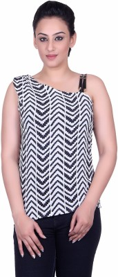 Sellsy Casual Sleeveless Striped Women's White Top