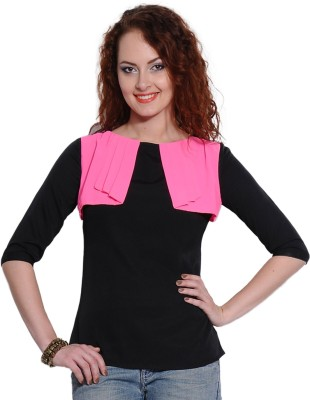 I Know Casual 3/4 Sleeve Solid Women,s Black Top