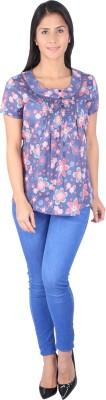Fashionwardrobe Casual Cap sleeve Printed Women,s Blue Top