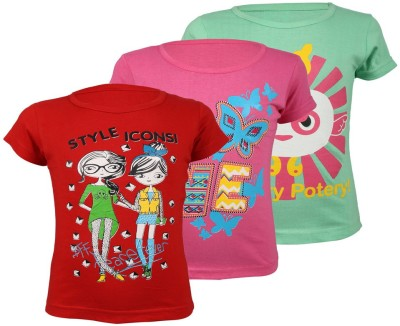 WEECARE Casual Short Sleeve Solid Girl's Red, Pink, Light Green Top
