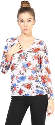 The Vanca Formal Full Sleeve Printed Women's White Top at flipkart