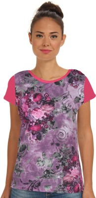 Stylemyway Casual Short Sleeve Printed Women's Pink Top