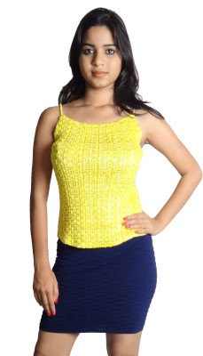 Oomph Factor Casual, Party Sleeveless Solid Women's Yellow Top