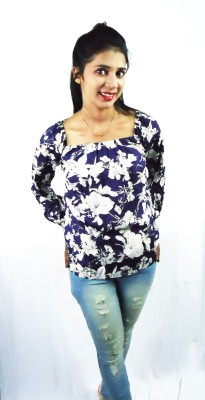 FASHIONHOLIC Casual Full Sleeve Floral Print Women's Blue Top