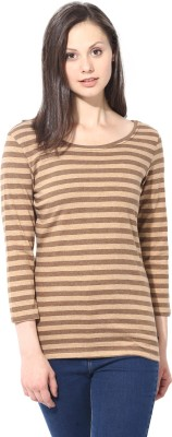 T-shirt Company Casual 3/4 Sleeve Striped Women's Brown, Brown Top