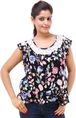 Kashana Fashions Casual Short Sleeve Floral Print Women's Black Top