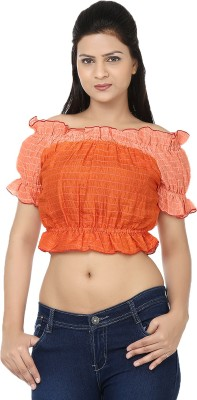 Reevolution Casual Short Sleeve Striped Women's Orange Top