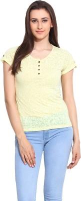 Mystree Casual Short Sleeve Printed Women's Yellow Top