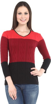 Miss Grace Casual 3/4 Sleeve Striped Women's Red Top