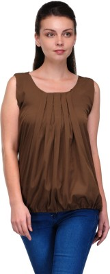 Enchanted Drapes Casual Sleeveless Solid Women's Brown Top