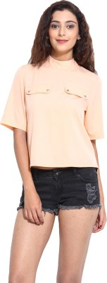 Pera Doce Casual Short Sleeve Solid Women,s Pink Top