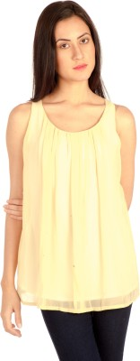 Bombay High Casual Sleeveless Solid Women's Beige Top