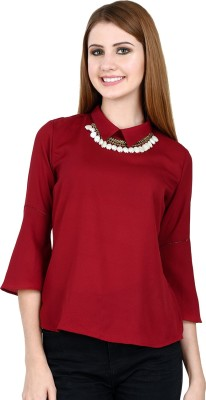 LA ATTIRE Casual, Party, Formal 3/4 Sleeve Solid Women's Maroon Top