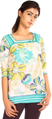 Mustard Casual 3/4 Sleeve Floral Print Women's Green Top