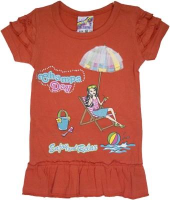 Mankoose Casual Short Sleeve Printed Girl's Orange Top