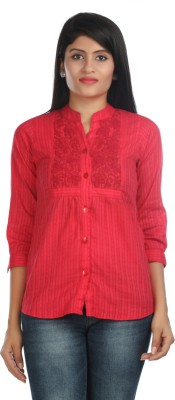 Zoe Fashions Formal 3/4 Sleeve Embroidered Women's Maroon Top