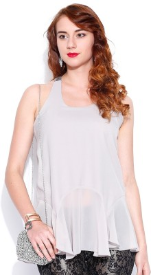 D Muse by DressBerry Casual Sleeveless Solid Women's Light Blue Top