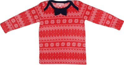 Crayon Flakes Casual Full Sleeve Printed Baby Girl,s Red Top