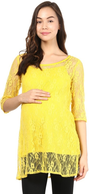 Mine4Nine Casual 3/4th Sleeve Embroidered Women's Yellow Top