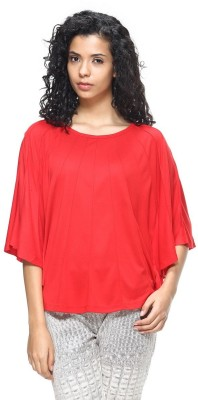 HANGNHOLD Casual 3/4 Sleeve Solid Women's Red Top