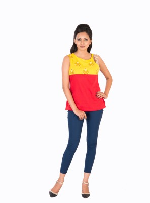 Sunshine Casual Sleeveless Solid Women's Red Top