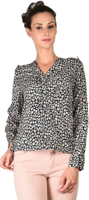 Curvy Q Casual Full Sleeve Printed Women's Black Top