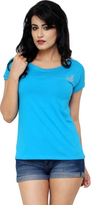 Alba Casual Short Sleeve Solid Women's Light Blue Top